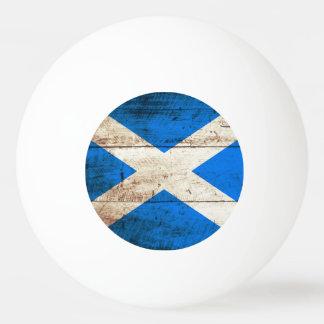 Scotland Flag on Old Wood Grain Ping Pong Ball