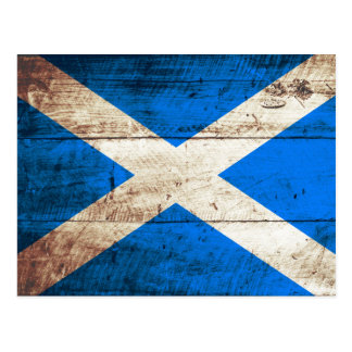 Scotland Flag on Old Wood Grain Postcard