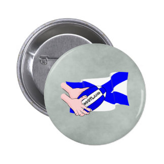 Scotland Flag Rugby Ball Supporters Cartoon Hands 6 Cm Round Badge