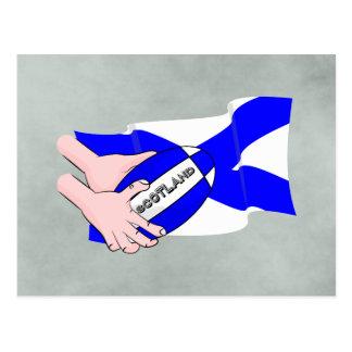 Scotland Flag Rugby Ball Supporters Cartoon Hands Postcard
