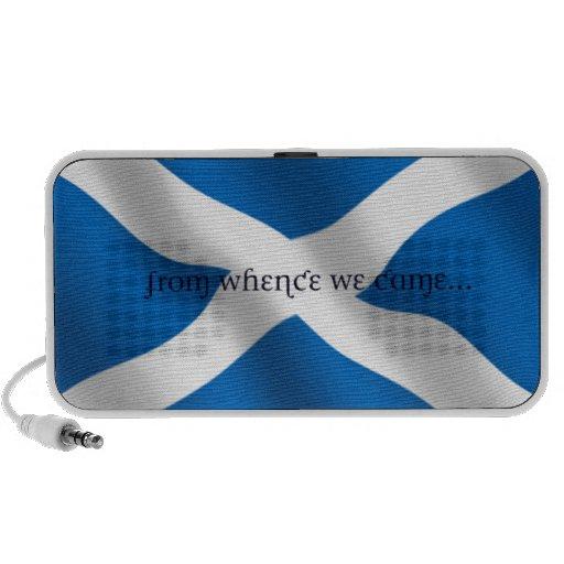 Scotland Flag White Cross From Whence We Came Mini Speaker