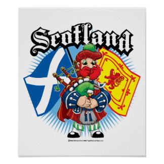 Scotland Flags and Piper Poster