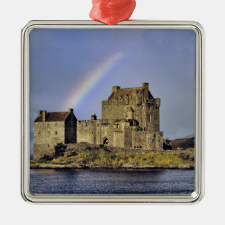 Scotland, Highland, Wester Ross, Eilean Donan Silver-Colored Square Decoration