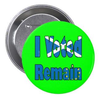"Scotland ""I Voted remain"" EU referendum 7.5 Cm Round Badge"