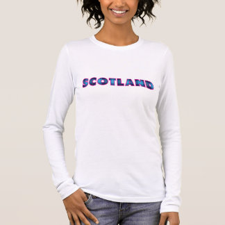 Scotland in Blue Tartan and Pink Edge Long Sleeve T-Shirt