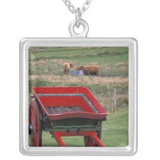 Scotland, Isle of Skye, Kilmuir. Farm animals Square Pendant Necklace