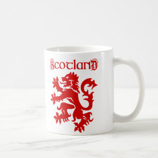 Scotland Lion Rampant Uncial Typeface Mug [Red]