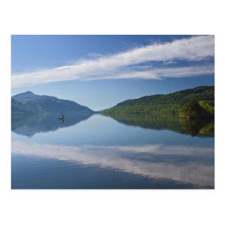Scotland - Lonely boat on Loch Lomond postcard