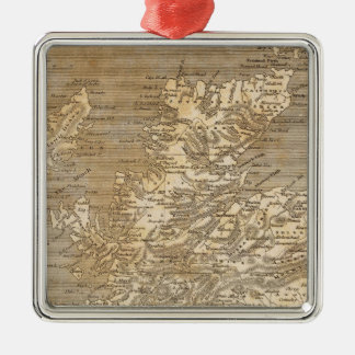 Scotland Map by Arrowsmith Silver-Colored Square Decoration
