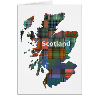 Scotland Map Multi Tartan Card