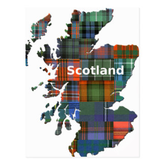 Scotland Map Multi Tartan Postcard