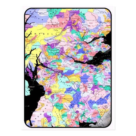 Scotland Map Scottish Clans Photo Postcard