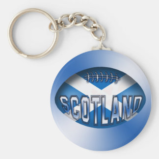 Scotland Rugby Ball Basic Round Button Key Ring