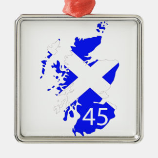 Scotland Saltire Map Silver-Colored Square Decoration