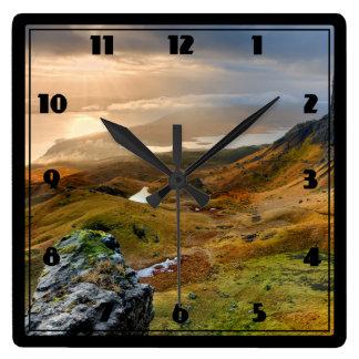 Scotland Scenic Rolling Hills Landscape Square Wall Clock