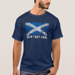 Scotland Text + Grunge Scottish Flag T-Shirt