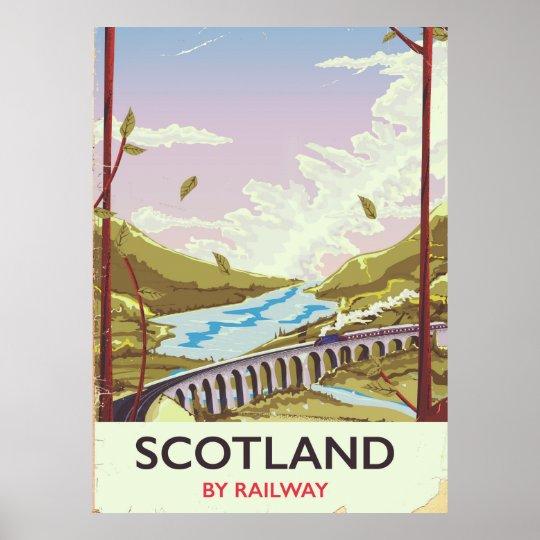 Scotland Vintage locomotive travel poster
