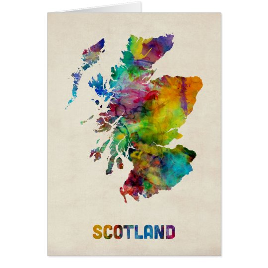 Scotland Watercolor Map Card