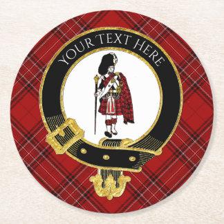 Scotsman Clan Crest Plaid Pattern Round Paper Coaster
