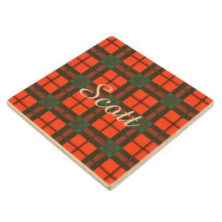 Scott clan Plaid Scottish tartan Wood Coaster