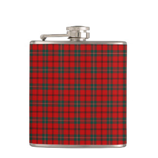 Scott Clan Tartan Bright Red and Green Plaid Hip Flask