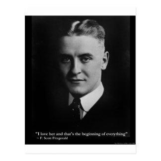 "Scott Fitzgerald ""Love/Beginning"" Quote Gifts Etc Postcard"