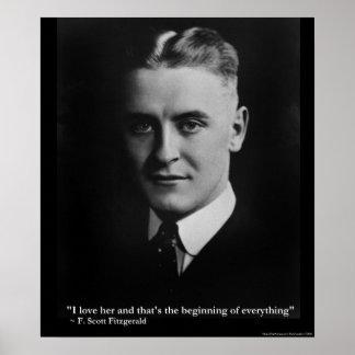 "Scott Fitzgerald ""Love/Beginning"" Quote Poster Print"