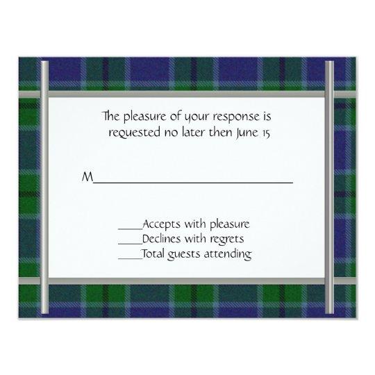 Scott Plaid Wedding RSVP Card
