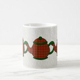 Scott Tartan Plaid Teapot Basic White Mug