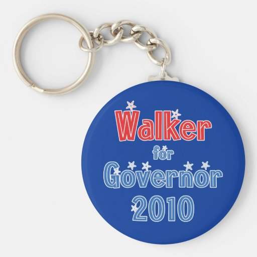 Scott Walker for Governor 2010 Star Design Basic Round Button Key Ring