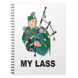 scott with bagpipe spiral note book