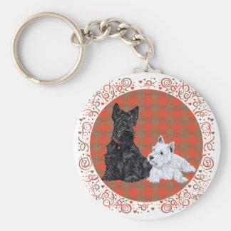 Scottie Adult & Westie Puppy Basic Round Button Key Ring
