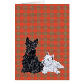 Scottie Adult & Westie Puppy Greeting Card
