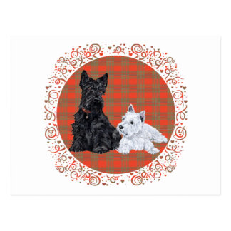 Scottie Adult & Westie Puppy Postcard