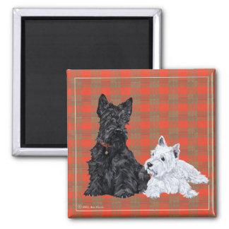 Scottie Adult & Westie Puppy Square Magnet