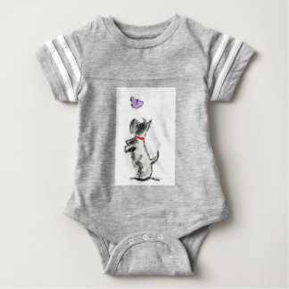 SCOTTIE AND BUTTERFLY BABY BODYSUIT