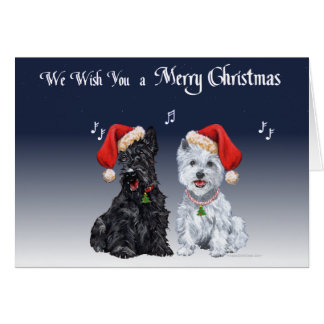 Scottie and Westie Caroling Card