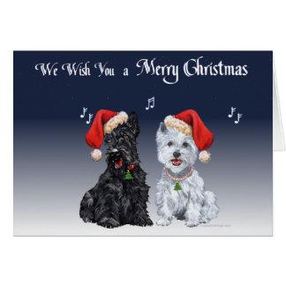 Scottie and Westie Caroling Greeting Card