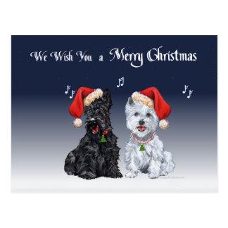Scottie and Westie Caroling Postcard