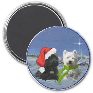 Scottie and Westie Christmas Star 7.5 Cm Round Magnet