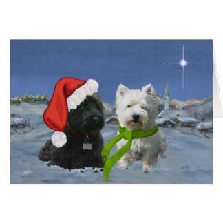 Scottie and Westie Christmas Star Greeting Card