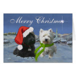 Scottie and Westie Christmas Star Greeting Cards