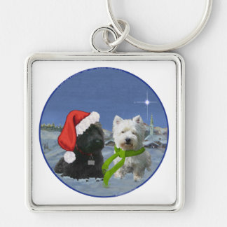 Scottie and Westie Christmas Star Key Ring
