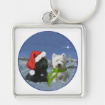 Scottie and Westie Christmas Star Silver-Colored Square Key Ring