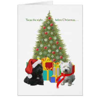 Scottie and Westie Christmas Tree Card