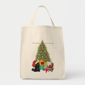 Scottie and Westie Christmas Tree Grocery Tote Bag