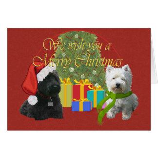 Scottie and Westie Christmas Wish Card