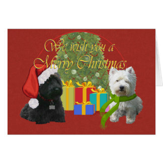 Scottie and Westie Christmas Wish Greeting Card