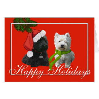 Scottie and Westie Happy Holidays Greeting Card