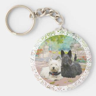 Scottie and Westie in a Garden Basic Round Button Key Ring
